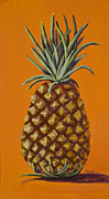 Tropical Fruit Paintings - Pineapple on Orange by Darice Machel McGuire