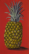 Tropical Fruit Framed Prints - Pineapple on Red Framed Print by Darice Machel McGuire