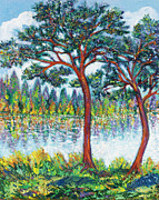 Lake Sculpture Metal Prints - PINES at LAKESIDE Metal Print by Gunter  Hortz