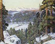 Snowy Stream Paintings - Pines in Winter by George Gardner Symons