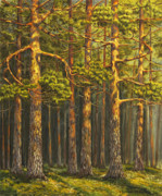 Wooden Painting Metal Prints - Pinewood Metal Print by Veikko Suikkanen