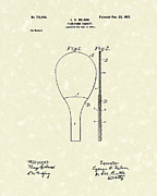 Table Tennis Racket Prints - Ping-Pong Racket 1902 Patent Art Print by Prior Art Design