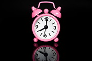 Lazy Digital Art Metal Prints - Pink Alarm Clock Metal Print by Niphon Chanthana