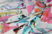 Dramatic Mixed Media Originals - Pink and Blue  Again for You by Hari Thomas