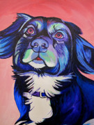 Dog Portraits Prints - Pink and Blue dog Print by Joshua Morton