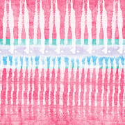 Pink Bedroom Prints - Pink and Blue Tie Dye Print by Linda Woods