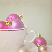 Pink And Gold Christmas Baubles In China Cup. Print by Lyn Randle