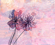 Pink And Lavender Prints - Pink and Lavender Abstract Flowers Print by Ann Powell