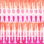 Bedroom Prints - Pink and Orange Tie Dye Print by Linda Woods