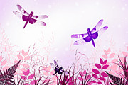 Dragonfly Art Framed Prints - Pink And Purple Dragonfly Art Framed Print by Christina Rollo