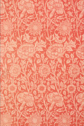 Floral Tapestries - Textiles Metal Prints - Pink and Rose Wallpaper design Metal Print by William Morris