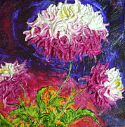 Pink Flower Prints Painting Posters - Pink and White Mums Poster by Paris Wyatt Llanso