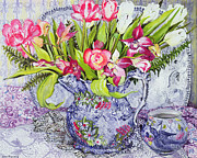 Table Cloth Painting Metal Prints - Pink and White Tulips Orchids and Blue Antique China Metal Print by Joan Thewsey