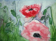 Anemones Paintings - Pink Anemones by Marna Edwards Flavell