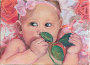 Infants Paintings - Pink Angel by Gwen Carroll