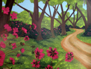 Pathway Paintings - Pink Azalea Path by Susan Plenzick