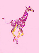 Giraffe Digital Art Framed Prints - Pink Baby Giraffe Framed Print by Jane Schnetlage