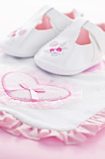 Pink Shoes Prints - Pink baby girl clothes Print by Elena Elisseeva