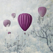 Air Travel Mixed Media Prints - Pink Balloons Print by Jelena Jovanovic