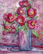 Formal Flower Paintings - Pink Beauties in a Blue Crystal Vase by Eloise Schneider