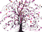 Circles Drawings Originals - Pink Berried Tree by Nina Kuriloff