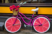 Streets Metal Prints - Pink bike Metal Print by Garry Gay