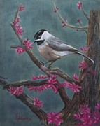 Pink Blossoms Pastels Posters - Pink Blossoms for Chickadee Poster by Leanne Whipple