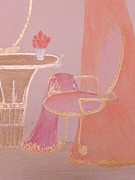 Set Pastels Posters - Pink Boudoir Chair Poster by Christine Corretti