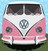 Pink Bus Print by Bruce Stanfield