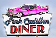 Pink Cadillac Prints - Pink Cadillac Diner Print by Bill Cannon