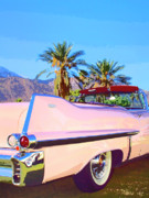 White Walls Posters - PINK CADILLAC Palm Springs Poster by William Dey