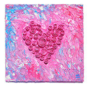 Roses Sculpture Metal Prints - Pink Cane Swirl Heart Metal Print by Ruth Collis
