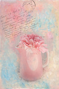 Kaypickens.com Metal Prints - Pink Carnation in Pitcher Metal Print by Kay Pickens