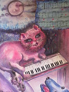 Cat And Moon Paintings - Pink Cat Sings the Blues by Lynn Maverick Denzer