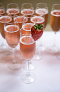 Sparkling Wine Framed Prints - Pink Champagne And Strawberry Framed Print by Lee Avison