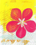 Yellow Mixed Media - Pink Cherry Blossom by Linda Woods