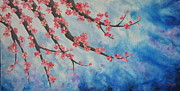 Tree Blossoms Paintings - Pink Cherry Blossoms by Shiela Gosselin