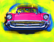 Whitewall Tires Mixed Media Prints - Pink Chevy Print by Doug Walker
