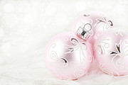 Vibrant Color Art - Pink Chirstmas Ornaments by Stephanie Frey