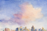 City Skylines Paintings - Pink Cloud and 59th St Bridge Watercolor Painting of NYC by Beverly Brown Prints