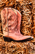 Boots Photos - Pink Cowboy Boots on Hay Stack by Tawnya Apuan