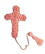 Christianity Tapestries - Textiles - Pink Cross Bookmark by Diane M