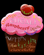 Cherry Art Mixed Media Prints - Pink Cupcake Typography Print by Andee Photography