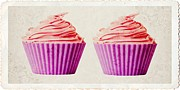 Duo Prints - Pink Cupcakes Print by Edward Fielding