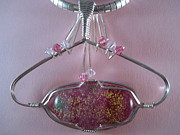 Sterling Silver Art - Pink Dichroic Oval Pendant in Sterling by Holly Chapman