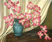 Pink Flower Branch Paintings - Pink Dogwoods by Evie Cook