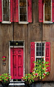 Rainbow Row Paintings - Pink Door by Ashley Galloway