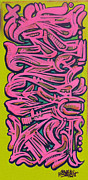Graffiti Painting Posters - Pink Dragon Reskew Poster by Miles Wickham