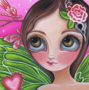 Newbrow Painting Originals - Pink Dragonflies by Jaz Higgins