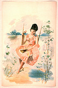 Color Lithographs Photo Acrylic Prints - Pink Dress 1892 Acrylic Print by Padre Art
